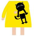 girl holding black cat kitten cute cartoon kawaii vector image
