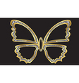 Gold butterfly with diamonds vector image