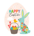 greeting card with blue easter bunny in egg vector image vector image