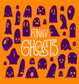 halloween funny ghosts square orange vector image vector image