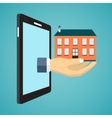 Hand holding house from screen of smartphone vector image vector image