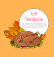 happy thanksgiving poster with turkey on plate vector image