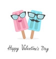 Happy Valentines Day Love card Ice cream couple vector image vector image