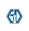 hexagonal initial letter gd g d logo design vector image vector image