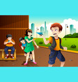 kids playing paper plane vector image vector image