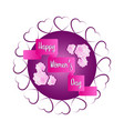 label with hearts and flowers happy women day vector image vector image