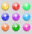 Lamp icon sign Symbols on nine wavy colourful vector image vector image