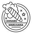 marijuana cigar logo outline style vector image