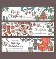 merry christmas and happy new hand drawn banners vector image