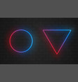 neon frames line light bulbs triangle and circle vector image vector image