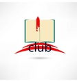 open club boook with hand and bookmark vector image vector image