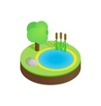Pond in a summer forest isometric 3d icon vector image