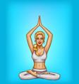 pop art blonde girl doing yoga padmasana vector image vector image