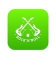 rock n roll icon green vector image