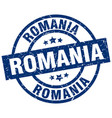 romania blue round grunge stamp vector image vector image