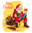santa claus and little girl christmas theme vector image