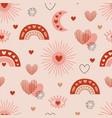 seamless pattern with love boho sun rainbow moon vector image vector image