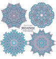 set of four abstract round lace design vector image vector image