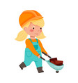 smiling girl builder in hard hat and overall vector image vector image