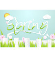 spring season concept wooden fence with flowers vector image vector image