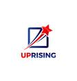 swoosh rising star logo design vector image vector image