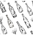 wine champagne bottle drink seamless pattern vector image vector image