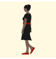a girl in a black dress red shoes belts and hair vector image