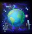 artificial satellites earth composition vector image
