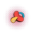 Baby nipple comics icon vector image vector image