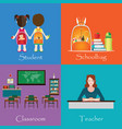 back to school theme set with student vector image vector image
