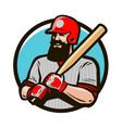 baseball player in helmet holding baseball bat vector image