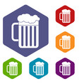 beer mug icons set vector image vector image