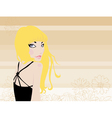 Blonde In Black On A Background Of Daisies Honey vector image vector image