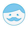blue round moustache man face cartoon vector image