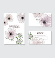 botanical anemones wedding invitation card vector image vector image