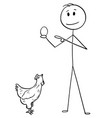 cartoon man holding egg and hen or chicken is vector image vector image