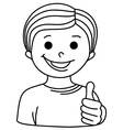 Cartoon Smiling Boy showing thumb up vector image