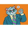 Cat businessman OK gesture vector image