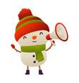 cheerful cute cartoon snowman with megaphone vector image
