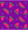 chunks of watermelon on a purple background vector image vector image