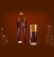 cola bottle and glass vector image vector image