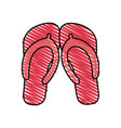 color crayon stripe beach flip-flops shoes vector image vector image