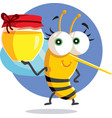 cute bee holding a honey jar character vector image