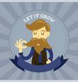 cute gentleman hipster cartoon character badge vector image vector image
