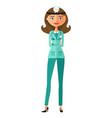 doctor woman flat cartoon vector image