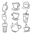 doodle of various drink hand draw vector image vector image
