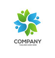 eco environment green leaf nature community logo vector image vector image