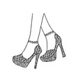 hand drawn outline ornamental high heels and sexy vector image