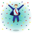 happy jumping businessman among colorful papers vector image vector image