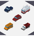 isometric automobile set of first-aid autobus vector image vector image